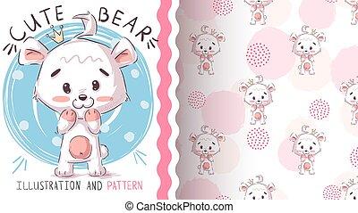 Polar white bear - seamless pattern