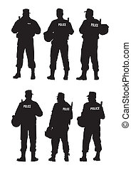 Vector graphic group of special police forces. Isolated on a white background. Saved in the eps.