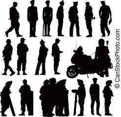 Twenty policeman black silhouettes. Vector illustration on white background