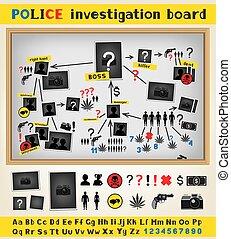 Police investigation board structure scheme constructor set to solve a crime. Criminal gang mafia group plan. Cops works board