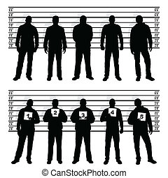 police line up silhouettes