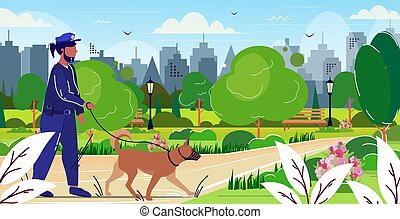 police officer walking with german shepherd policeman in uniform with dog security authority justice law service concept public park cityscape background sketch full length horizontal
