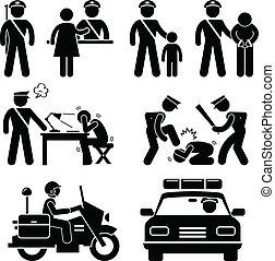 A set of pictograms representing police station scenario.