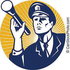 Illustration of a police officer policeman security guard holding a flashlight torch set inside circle done in retro style.