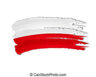 illustration of isolated hand drawn Polish flag
