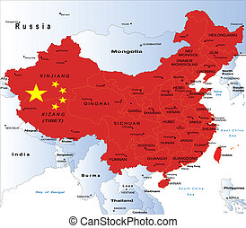 Highly detailed map of China with all different regions and main cities