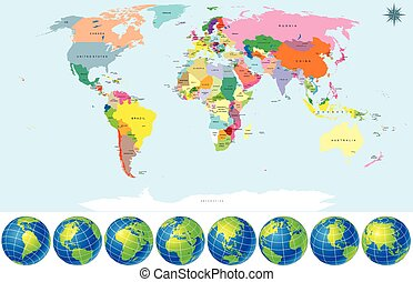 Political World Map with Earth Globes