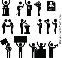 A set of people pictogram representing politician, reporter, supporters, government, citizens, and protesters.