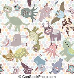 Polka dot background, seamless pattern. Funny cute dinosaur monsters. Vector