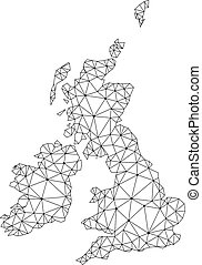 Polygonal Network Mesh Vector Map of Great Britain and Ireland