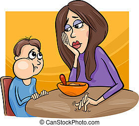 Cartoon Illustration of Cute Poor Eater Boy with his Mum having a Meal