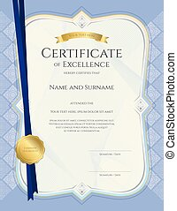 Portrait certificate of achievement template in vector with applied Thai art background, blue color