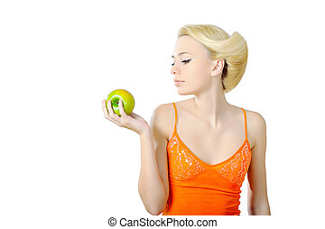 portrait of a beautiful young girl with an apple