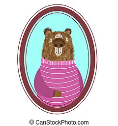 Portrait of a cartoon cute shaggy bear in a beautiful striped sweater, animal postcard, poster, print. Vector illustration.