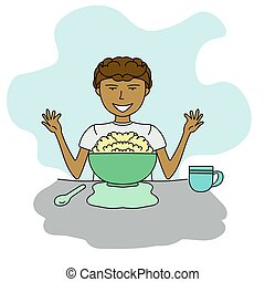Portrait of a cartoon style boy eating breakfast with cereal or porridge