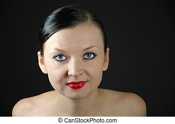 portrait of a girl on a black background