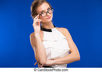 portrait of a girl with glasses