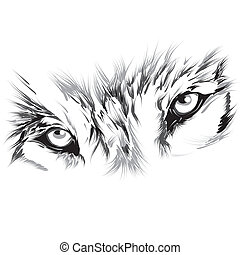Portrait of a wolf in a circle on a background of red rays