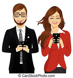 portrait of beautiful business woman and man using mobile phones socializing on internet isolated on white backdround