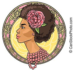 Portrait of beautiful woman in floral border