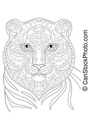 portrait of tiger for your coloring book