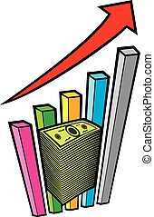 positive business graph with arrow and big stack of money - business concept