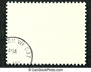 Blank postage stamp with meter stamp