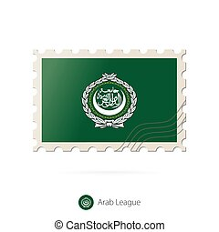 Postage stamp with the image of Arab League flag.