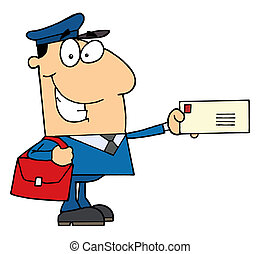 Friendly Caucasian Mail Man Holding A Letter