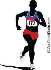 Poster Athletics. The running people. Sport. Running. Vector illustration