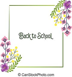 Poster for back to school, education template, with concept purple flower frame background. Vector
