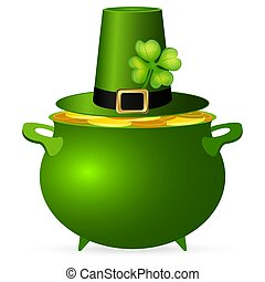 Pot of money and a hat with a clover for St. Patrick's Day