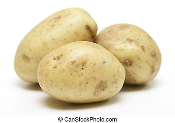 Three potatoes isolate on a white background