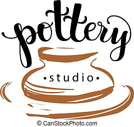 Pottery studio logo, vector illustration used modern lettering and drawing