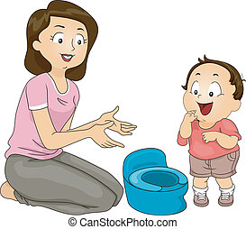 Illustration of a Mother Training Her Son to Use the Potty