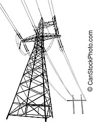 Vector silhouette of Power lines and electric pylons