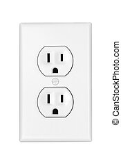 An American 110 volt three prong electrical power outlet isolated on white.