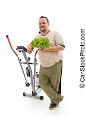 Power plan for fittness - overweight man healthy choices