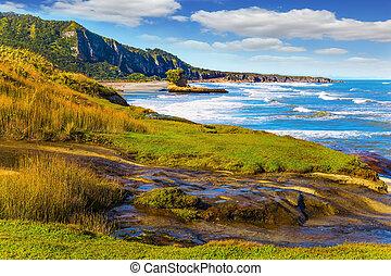 Powerful ocean surf in New Zealand