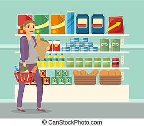 Pregnant Woman Buying Food at Groceries Store