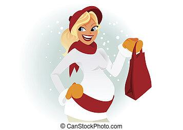 Pregnant woman winter shopping