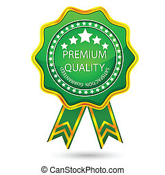illustration of badge for premium quality with ribbon