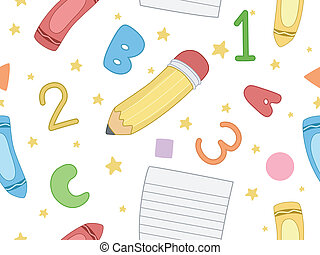 Seamless Background Illustration with a Preschool Theme