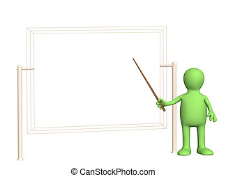 3d puppet - businessman with pick. Objects over white