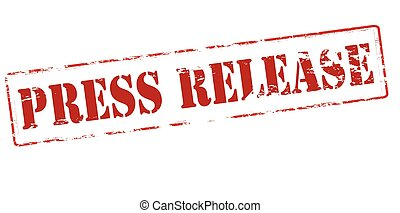 Rubber stamp with text press release inside, vector illustration