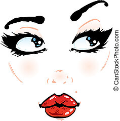 Pretty face details on a white background illustration