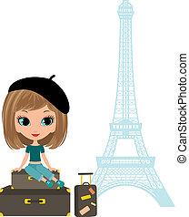 Pretty girl sits on a suitcase against Tour d'Eiffel.