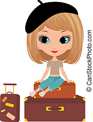 Pretty girl sits on a suitcase