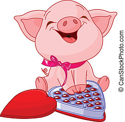 Cute pretty pig at Valentines Day with chocolates