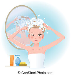 Pretty woman soaping her head with mirror on the back in bathroom. File contains Gradients, Blending tool, Transparency, Clipping mask.
